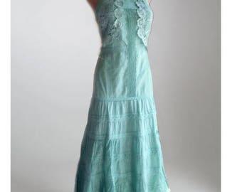 Soft green slip dress/Boho dress/festival dress/bridesmaid dress/green summer dress/girls dress/dress with doily/romantic dress
