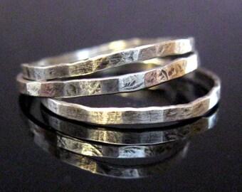 Sterling Silber dünn Stapeln Ringe - Set von drei 3