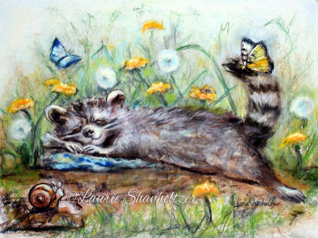 Racoon Children Nursery Sleepy Baby Animal Wildlife Canvas