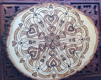 "12"" Wood Burned Mandala Slice - Handmade Wall Hanging, Sacred Geometry Art, Bohemian Wall Art, Heart Mandala"