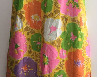 Vintage Skirt 1960s Bold Bright Floral Maxi Skirts Hippie 60s Full Length Skirt Bohemian Beach Party True Vintage Flowerchild Almost Famous