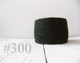 Linen crochet knitting weaving thread  - dark olive green color # 300
