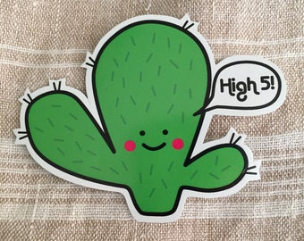 Prickly Pear Cactus Hug Vinyl Sticker