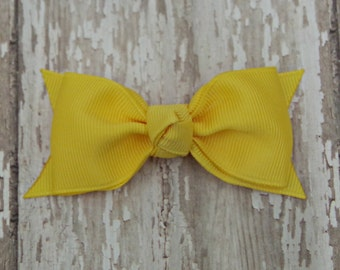 Yellow Tuxedo Style Toddler Hair Bow 3 Inch Alligator Clip Baby Hairbow