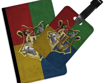Harry Potter Hogwarts Crest PASSPORT Cover LUGGAGE TAG Set