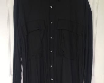 Men's vintage 90's black long sleeve button down dress shirt with chest pockets size xl