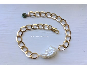 Maiden Bracelet — freshwater BAROQUE pearl labradorite ornate golden chain adjustable minimalist  mermaid boho nashville bride june