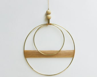 Double Circle Wall Hanging. Handmade. Geometric. Modern. Minimal. Natural. Home. Wall decor.