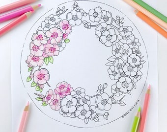 Adult coloring page Spring wreath Cherry Blossom Flower Coloring Pages for Adults digital coloring Hand Drawn flowers Line Art Olga Zaytseva