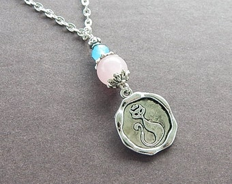 Darling Diva Retro Kitty Cat Vintage Style Wax Seal Necklace Rose Quartz Gemstone Pendant