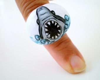 On SALE- Whimsy Shark  Ring, Hand Paint  pebble Jewelry , original wearable art, gift for him, her