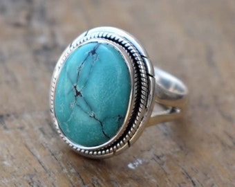 Attract Turquoise Designer Ring,Tibetan Turquoise Ring,Solid 925 Sterling Silver Turquoise Ring,Mother's Day Special Handmade Jewelry Ring