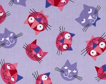 "Robert Kaufman Whiskers & Tails Cats All over Violet  14570-22 - 100% Cotton - 3 Cuts in Stock 18"" and smaller"