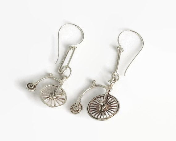 Sterling silver hook earrings with bicycles, penny farthing bicycles with moveable wheels, dangle earrings, drop earrings, 5 grams