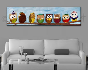 Snow White and the Seven Owls canvas print, gallery wrapped canvas, Seven Dwarfs, Kids decor, Owl painting, Humorous print