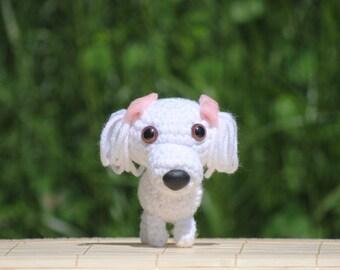 Crochet Amigurumi Dog Maltese Puppy Stuffed Animal - Ready to Ship