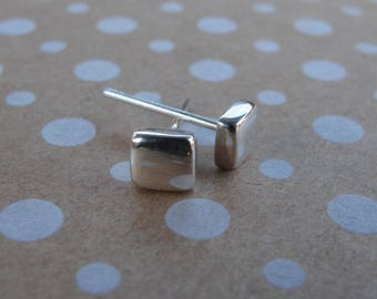 Square sterling silver stud earrings - polished finish