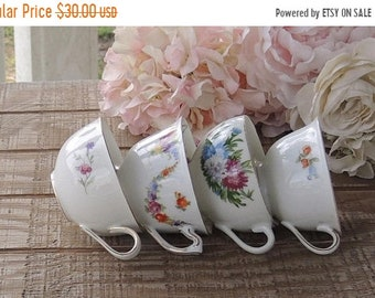 ON SALE Mismatched Tea Cups Set of 4 Pink and White Cups Tea Party Baby Shower Bridesmaid Luncheon