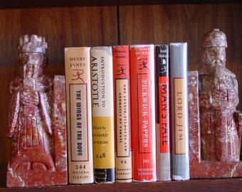 Carved Stone Bookends Asian Scholar/Priest & Warrior Design Decorative Arts Home Decor Modern Art Vintage