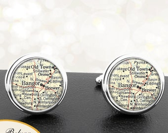 Vintage Map Cufflinks Bangor ME Cuff Links State of Maine for Groomsmen Wedding Party Fathers Dads Men