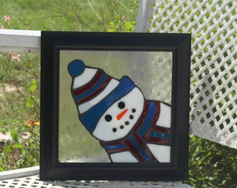 Stained Glass Mosaic Peeking Snowman Framed Frost
