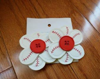 Baseball hair flowers vinyl button centers on alligator clips