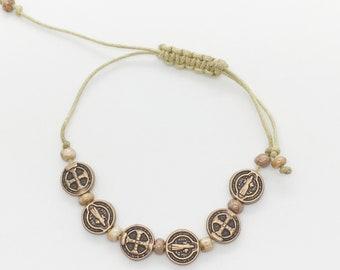 Saint Benedict Copper & Tan Charm Bracelet