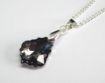 Grey Swarovski Baroque Necklace - Silver Night Crystal - Swarovski Elements - Black Silver Pendant - Crystal Baroque Teardrop Necklace