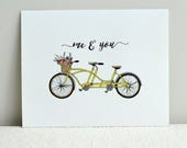 INSTANT DOWNLOAD / DIY Wall Art Print / Digital File / 8x10, A4, 8.5 x 11 / Bicycle Built for Two: Me & You