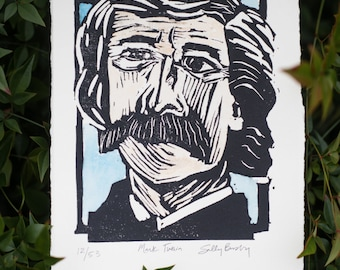Mark Twain Linocut Print with Watercolored Embellishments for the Book Lover-- literary gifts for teacher -- classic literature gift