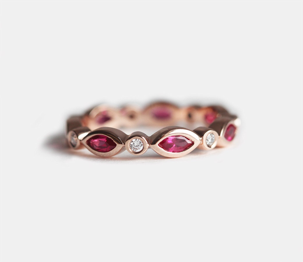 Gold Ruby Ring Ruby Wedding Band Ruby Wedding Ring Eternity