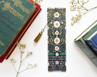 Gifts for book lovers, Luxury waterproof Bookmark, page marker, folky, literary gift, book lover gift, folk flowers