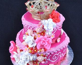 Marie Antoinette Cake Headdress. Pink cake fascinator. Burlesque headpiece. Cake crown. Theatre costume prop. Light-up headdress.