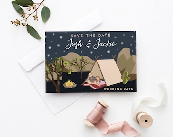 Unique Save the Dates Illustration- Custom Save the Date Cards - Couple Portrait Save the Date Cards - Personalized Save the Dates