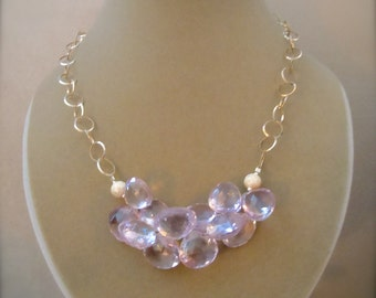 First Frost -- Pink Amethyst Statement Necklace