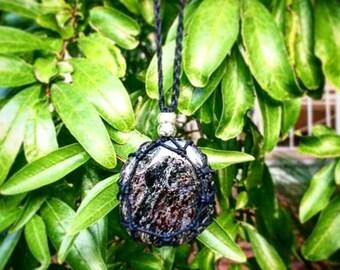 Black Tourmaline Palmstone Macrame Necklace