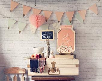Wedding Guest Book Alternative Mason Jar - Blush Pink Personalised Guestbook - Size 1
