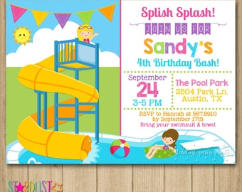 Pool Party Invitation, Pool Slide Invitation, Slide Invitation, Splash Invitation, Splash Bash, Pool Party