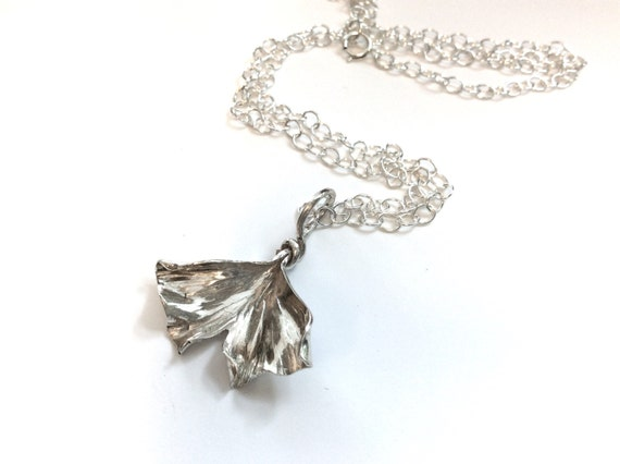 Sterling silver ginkgo leaf pendant on a sterling chain