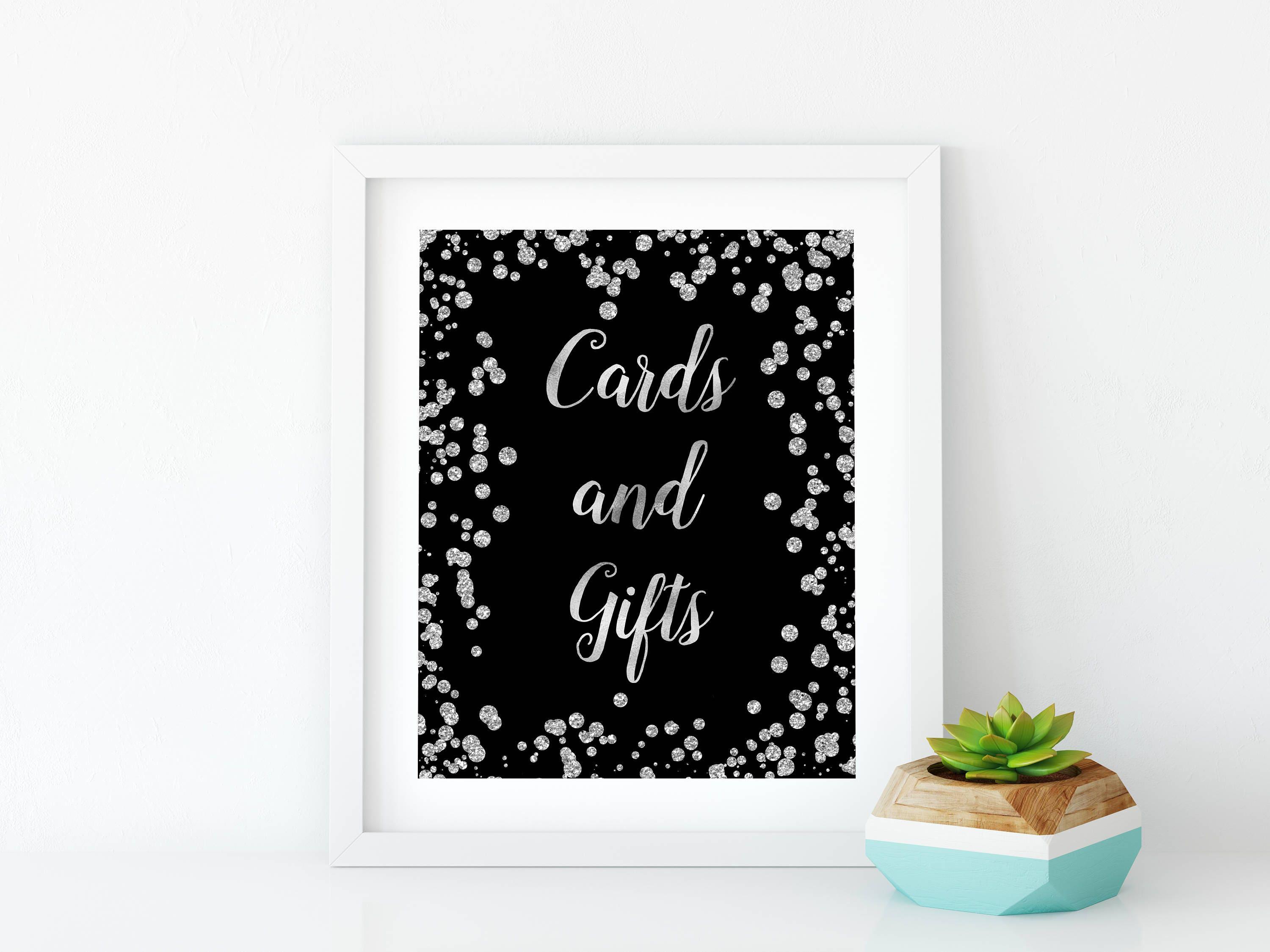 Cards and gifts silver sign Silver party decorations Black and