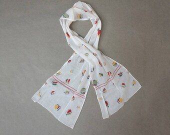 70s Cotton Block Printed Headscarf // Cotton Gauze Scarf