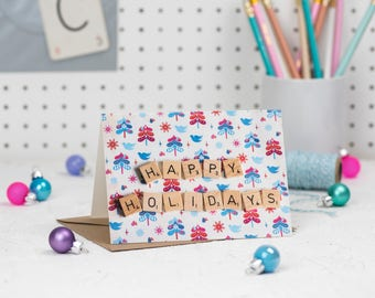 Happy Holidays Scrabble Christmas Card, Scrabble Inspired Greetings Card, Holiday Cards