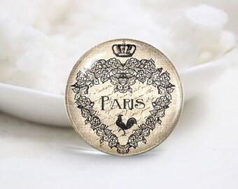 Handmade Round Photo glass Cabochons-Paris (P2881)