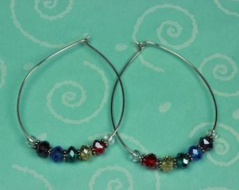 Sterling Silver and Swarovski Crystal Hoop Earrings