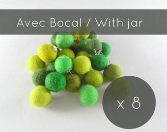 Thumbtacks 8/green push pins/felt balls/pins/pompoms/cork board/christmas stocking/office accessorie/made in Canada/professor gift/gift idea