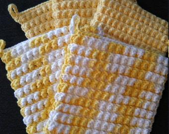 Yellow scrubie cotton washcloths