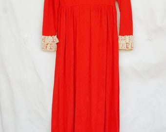 Vintage 60s-70s High Lace Collar Empire Waist Maxi Dress/Retro/Victorian/Hippie/Bohemian Chic