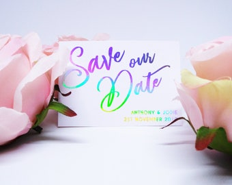 Custom Save the Date with Foil Lettering. Matching Envelope. Iridescent, Rose Gold, Gold or Silver Save our Date.
