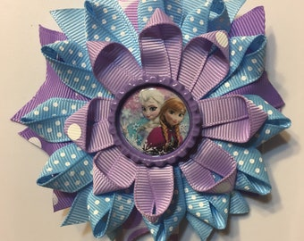 Frozen inspired hair bow