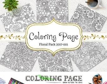 SALE Adult Coloring Page Floral Coloring Book Printable Coloring Book Adult Coloring Pages Instant Download Coloring Pages Printable Art
